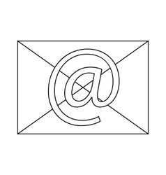 Envelope with e mail sign icon icon outline style vector image