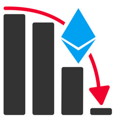 Ethereum falling acceleration chart flat icon vector