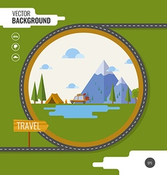 Family traveling in car Background tent mountain vector