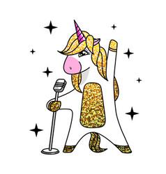 fantasy singing animal horse unicorn vector image
