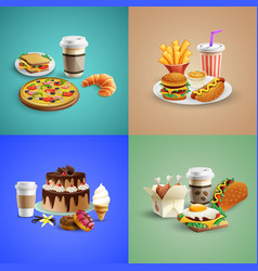 fast food cartoon concept vector image