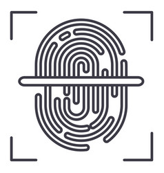 finger scanner line icon sign vector image