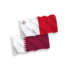 Flags malta and qatar on a white background vector
