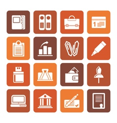 Flat Business Office and Finance Icons vector image