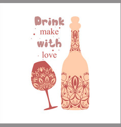 Floral vintage style for wine bottle and champagne vector