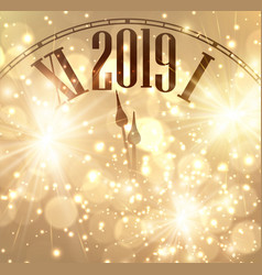 Gold bokeh new year 2019 background with clock and vector