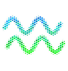 Halftone blue-green sinusoid waves icon vector