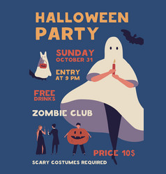 halloween costume party flat poster vector image