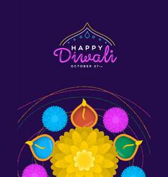 happy diwali card hindu diya flower candle vector image