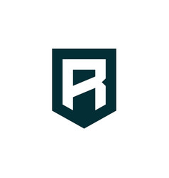 Initial letter r shield logo icon vector