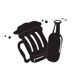 Isolated beer mug and bottle vector