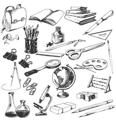 Isolated school objects set vector