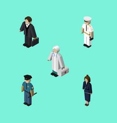 isometric people set of seaman businesswoman vector image