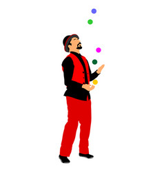 Juggler artist clown juggling with balls vector