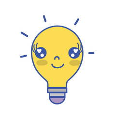 kawaii cute happy bulb idea vector image