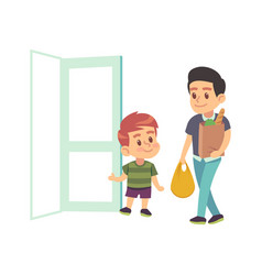 kids good manners boy helping adult polite vector image