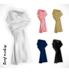 Knitted scarf set mockup vector image