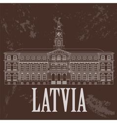 Latvia landmarks Retro styled image vector image