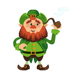 leprechaun cartoon character or funny green dwarf vector image