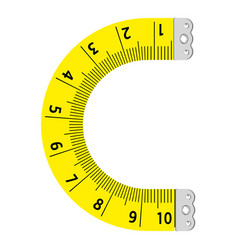 Letter c ruler icon cartoon style vector