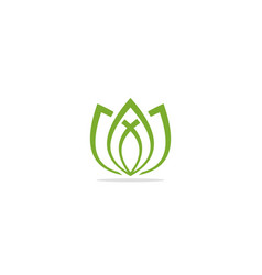 lotus green leaf eco logo vector image