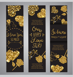 love text on set of banners romantic lettering vector image