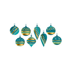 Luxury xmas bauble set vector