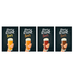 male hand holding a glass with four types beer vector image