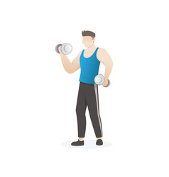 man doing exercise with dumbbells vector image