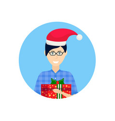 man red hat face avatar new year merry christmas vector image