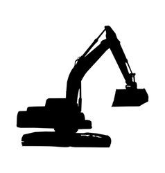 mechanical digger excavator silhouette vector image