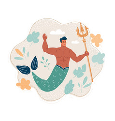 mermaid man with trident in vector image