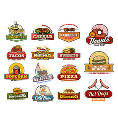 Mexican asian fast food snacks and meals icons vector
