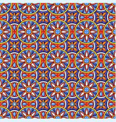 Mexican talavera ceramic tile pattern ethnic folk vector