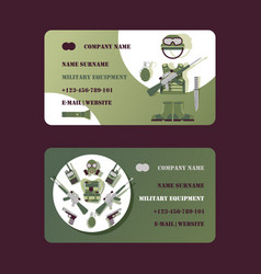 military equipment business card design vector image