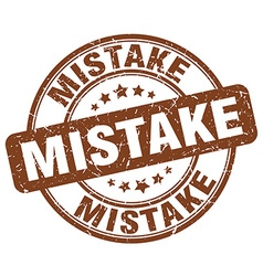 Mistake brown grunge round vintage rubber stamp vector