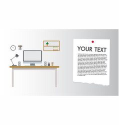 modern desk flat design computer set workplace vector image