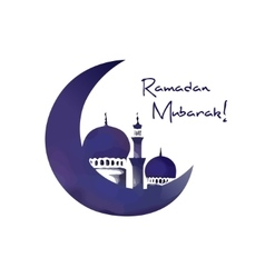 Mosque and moon ramadan symbol vector image