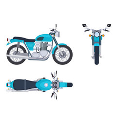Motorbike side and top view motorcycle motocross vector