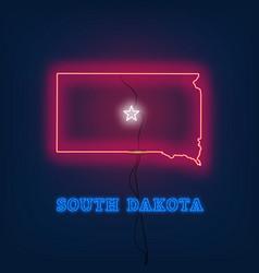 Neon map state of south dakota on dark background vector