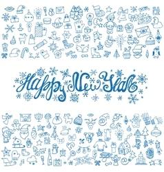 New year greeting cardLinear IconstitleBlue vector image