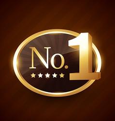 number one brand golden label design vector image