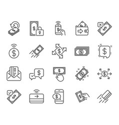 payment line icons set of accept transfer pay vector image