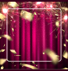 Pink festive card with sparklers and blurred vector