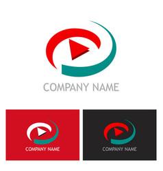 Play button abstract technology logo vector