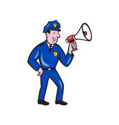 Policeman Shouting Bullhorn Isolated Cartoon vector