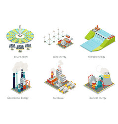 Power plant icons Electricity generation plants vector