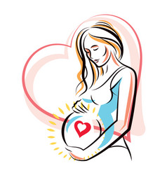 Pregnant female surrounded by heart shape frame vector
