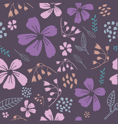 purple dancing flowers seamless pattern vector image