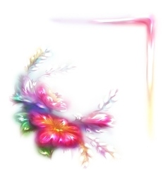 Rainbow frame with flower in corner on vector
